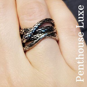 🐍 NEW!! Sterling Silver 3D Snake Coil Ring